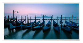 Premium poster  Panoramic of gondolas in front of San Giorgio church, Venice, Italy - Matteo Colombo