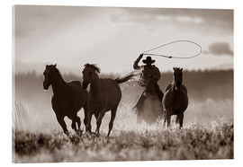 Acrylglas print  Cowboy of the horses catches - Richard Wear