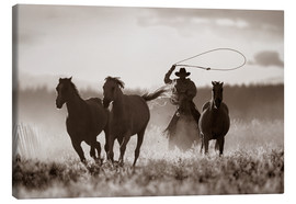 Canvas print  Cowboy of the horses catches - Richard Wear