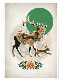 Premium poster  Stag, bird and hare - Mandy Reinmuth
