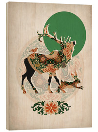 Hout print  Stag, bird and hare - Mandy Reinmuth