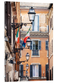 Acrylglas print  Street in the centre of old town with italian flags, Rome, Italy - Matteo Colombo