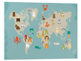 PVC print  World map with animals - Petit Griffin