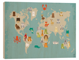 Hout print  World map with animals - Petit Griffin