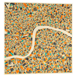 Acrylglas print  London map colorful - Jazzberry Blue