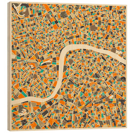 Hout print  London map colorful - Jazzberry Blue