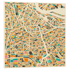 PVC print  Amsterdam map colorful - Jazzberry Blue