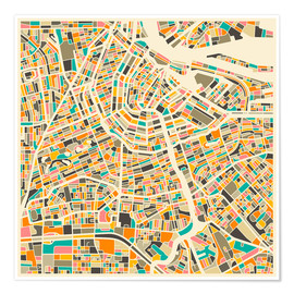 Premium poster  Amsterdam map colorful - Jazzberry Blue