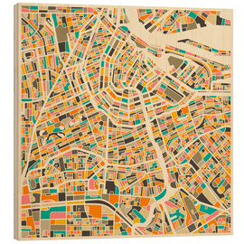 Hout print  Amsterdam map colorful - Jazzberry Blue