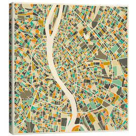 Canvas print  Budapest Map - Jazzberry Blue