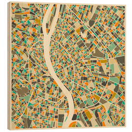 Hout print  Budapest Map - Jazzberry Blue