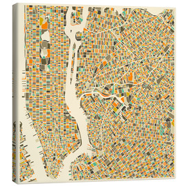 Canvas print  New York map colorful - Jazzberry Blue