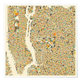 Premium poster  New York map colorful - Jazzberry Blue