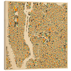 Hout print  New York map colorful - Jazzberry Blue