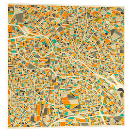Acrylglas print  Berlin map colorful - Jazzberry Blue