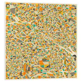 PVC print  Berlin map colorful - Jazzberry Blue