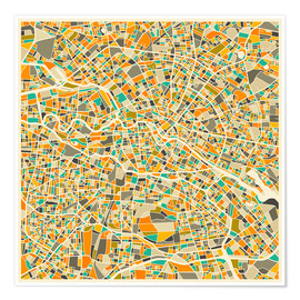 Premium poster  Berlin map colorful - Jazzberry Blue