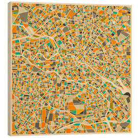 Hout print  Berlin map colorful - Jazzberry Blue