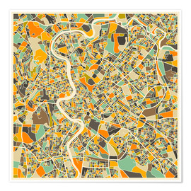 Premium poster  Rome Map - Jazzberry Blue
