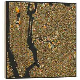 Hout print  New York Map - Jazzberry Blue