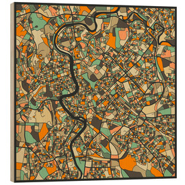 Hout print  Rome Map - Jazzberry Blue
