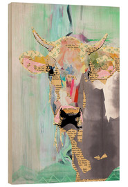 Hout print  Cow collage - GreenNest