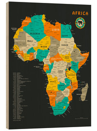 Hout print  Africa Map - Jazzberry Blue