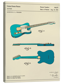 Canvas print  Guitar Patent (1951, Engels) - Jazzberry Blue
