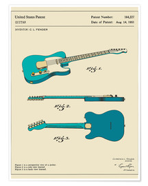 Premium poster  Guitar Patent (1951, English) - Jazzberry Blue