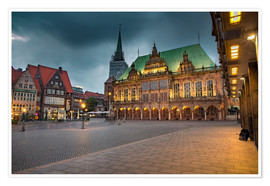 Premium poster Bremen Market Square with City Hall