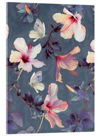 Acrylglas print  Butterflies and Hibiscus Flowers - a painted pattern - Micklyn Le Feuvre