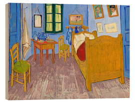 Hout print  De slaapkamer, Arles - Vincent van Gogh