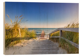Hout print  Pier into the ocean Baltic - Dennis Stracke
