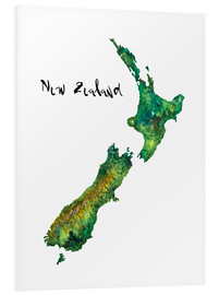 PVC print  Map of New Zealand in watercolour - Ricardo Bouman