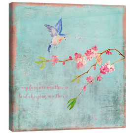 Canvas print  Bird chirping - Spring and cherry blossoms - UtArt