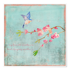 Premium poster Bird chirping - Spring and cherry blossoms