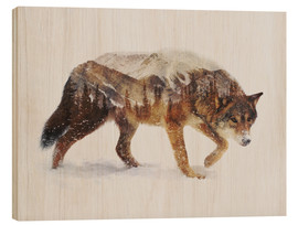 Hout print  Arctic Wolf - Andreas Lie