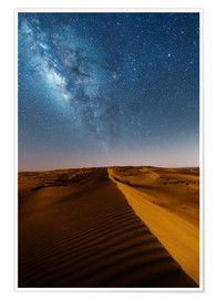 Premium poster Milky way over dunes, Oman