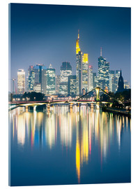 Acrylglas print  Frankfurt skyline reflected in river Main at night, Germany - Matteo Colombo