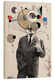 Hout print  the thinking man - Loui Jover