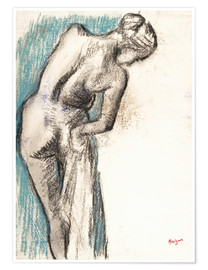 Premium poster  Woman drying herself - Edgar Degas