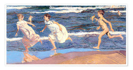 Premium poster  Running Along the Beach - Joaquin Sorolla y Bastida