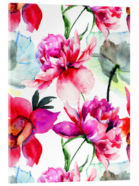 Acrylglas print  Poppies and peonies