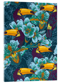 Acrylglas print  Tropical flowers with toucan