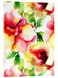Acrylglas print  Watercolor painting with rose petals