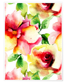 Premium poster Watercolor painting with rose petals