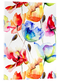 Acrylglas print  Poppies and tulips