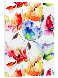 PVC print  Poppies and tulips in watercolor