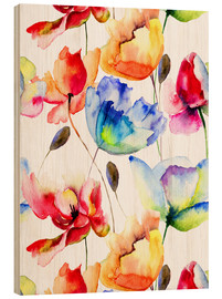 Hout print  Poppies and tulips