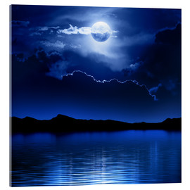 Acrylglas print  Fantasy moon and clouds over water - Johan Swanepoel